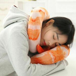 Funny Shrimp Prawn Meat Pillow Plush U-shape Neck Cushion Dolls Toy
