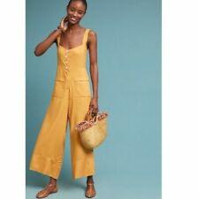 NWT $198 Anthropologie Sancia Alaro Wide-Leg Jumpsuit Linen Yellow Gold Size M