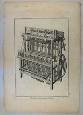 WEBSTUHL Orig. Kupferstich um1770 Stoffe weben Maschine WEBER Industrialisierung