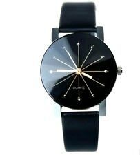 Unusual Faceted Glass Black and Crystal Faced Quartz Watch Black Strap