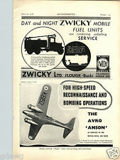 1936 PAPER AD Airplane The Avro Anson Twin Engine Reconnaissance Bomber