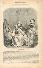 Costume Robe Toilette Femme Style Louis XV Dessin d'Eustache Lorsay GRAVURE 1855