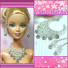 handmade barbie doll flower jewelry set necklace earrings for barbie dolls
