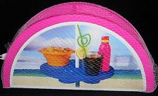PORTABLE BEACH UMBRELLA TABLE  Pink Two Cup holders & 1 Snack Holder