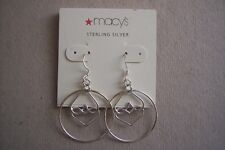 Macys Dangling .925 Sterling Silver Intertwined Dual Heart Earrings $40
