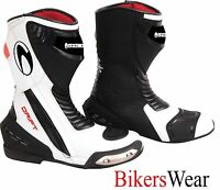 Richa DRIFT White / Red / Black Sports WP Motorcycle Boots - Free PAIR SOCKS QZ