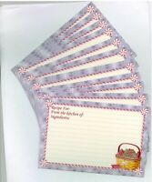 12 Longaberger 4x6 Snowflake Basket w Red Green Ribbon Candy Recipe Cards 0 ship