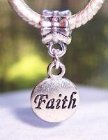 Faith Inspirational Word Circle Dangle Charm for Silver European Bead Bracelets