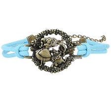 Disney Alice Wonderland White Rabbit Clock Gold Tone Charm Blue Cord Bracelet