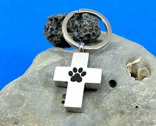 "Cross Paw Print Pet Cremation Pendant Urn Keychain 1"" Key Ring Dog Cat Ashes Ash"