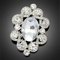 Pretty Rhinestone Crystal bouquet Flower silver Pin Pendant Bridal Wedding Women