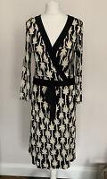 Diane Von Furstenberg DVF Wrap Dress Palm Print Black Silk Size 14