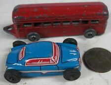 2 1930's Die-Cast Lead Red Train & Press Tin Racer