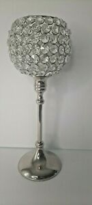 Crystal Chstmas silver tone Candle Holder Prism reflective wedding decor /r