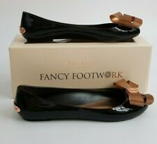 Ted Baker Larmiar Bow Detail Jell Pump  Black Flat Shoes (Size UK 3 & UK 6)