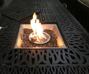 Cast Aluminum Dining Double Burner Fire Pit Table.