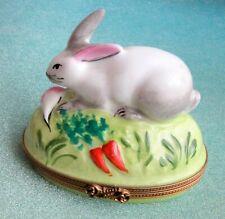 Limoges France Peint Main Bunny Rabbit Trinket Box