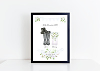 Personalised Wedding Gift - Wedding Welly Print - Mr & Mrs Wellies - Bride Gift