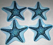 "COASTAL Melamine Ware Appetizer Plates 8"" Set of 4 STARFISH"