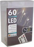 Led Draht Lichterkette warmweiß 60 Leds Timer + Fernbedienung innen außen Dimmer