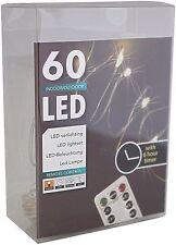 Led Draht Lichterkette warmweiß 60 Leds mit Timer + Fernbedienung innen außen