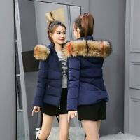 UK Winter Women's Down Cotton Parka Short Fur Collar Hooded Coat Quilted Jacket