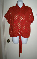 French Laundry Women Tie Front Blouse Top Size L Petite P/L rusty orange gold