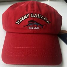 TOMMY BAHAMA Washed Marlin Relax Baseball Cap Hat Red Adjustable Strap NWT NEW