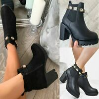 Womens Embellished Crystal Ankle Boots Chunky Winter Tractor Sole Trip Shoes New
