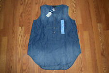 NWT Womens Terre Bleue Medium Blue Wash Tunic Shirt Sleeveless Sz L Large