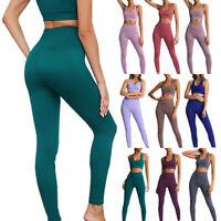 Damen Leggings Yoga Set Sport BH Bra PUSH UP Hose Stretch Leggins Gym Fitness