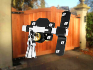 Concise Home Double Long Throw Gate Lock 5 Keys Garden Locking Both Sides