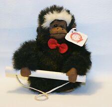 "Goffa Plush Black Monkey On A Swing Red Bowtie Stuffed Animal 8"""