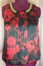 AGB 1X Ladies Blouse Red Black Floral Career Semi Formal Top w/neck accents L30
