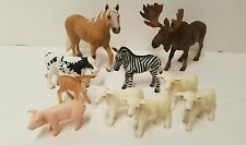 Schleich Farm animals 10 lot Horse Baby Cow Pig lamb deer Moose zebra