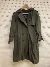 Vintage Burberry Green Plaid Trench Coat Size L