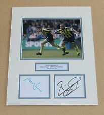 PAUL DICKOV & RICHARD EDGHILL Manchester City HAND SIGNED Photo Mount + COA.