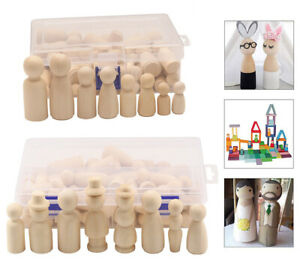 50 & 55Pcs Unfinished Wood Dolls Wooden Peg Little People Art Craft Painted Toy