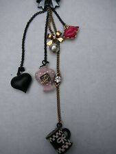 Vtg Betsey Johnson Necklace Tassel Charms Black Chain Bow cup Faux pearl Rare