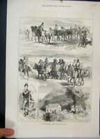 Old Antique Print 1876 War Servia Wounded Horses Turkish Prisoners Sketch 19th
