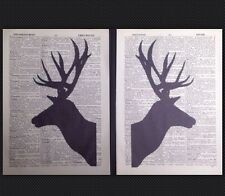 2 X Stag Head Deer Vintage Prints Pictures Dictionary Page Silhouettes Wall Art
