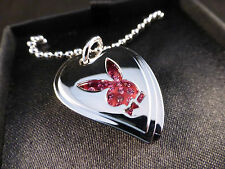 """Super Cool Playboy """"Dog Tag"""" Crystal Pink Heart and Silver Bunny Necklace Boxed"""