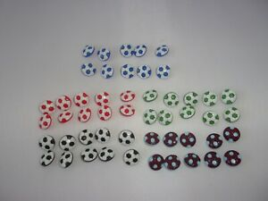 10 Quality Cute Football Novelty Buttons Baby Children 15mm Choice Of Colour