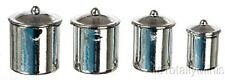 Dollhouse Miniature Canister Set, Stainless Steel, 4 w/Lids #IM65574