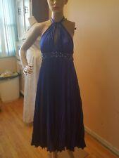 Jovani formal dress size 4 tie around neck tea length blue rhinstones