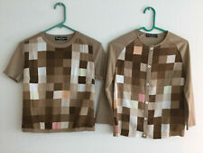 Vintage Salvatore Ferragamo Sweater Set Cardigan Sz S Digital Pixel Design