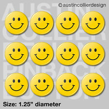 """(12) HAPPY FACE 1.25"""" pinback buttons / badges - smiley retro hippy pins"""