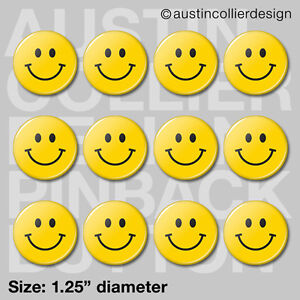 "(12) HAPPY FACE 1.25"" pinback buttons / badges - smiley retro hippy pins"