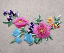 Floral Arrangement/Flowers Pink/Purple/Blue Iron on Applique/Embroidered Patch
