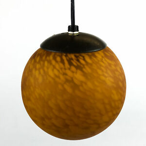 Mid Century Modern Retro Pendant Swag Lamp Burnt Orange MCM Light Bubbles Frost